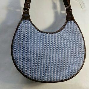 The Sak Brown Leather and Blue Weave Shoulder Bag